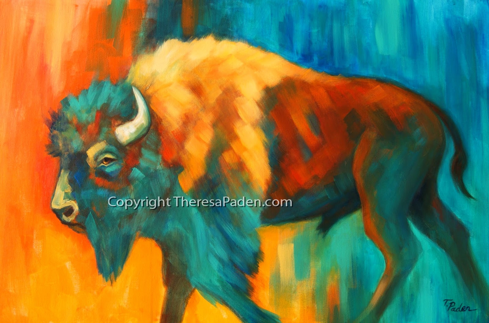 Colorful Bison Painting