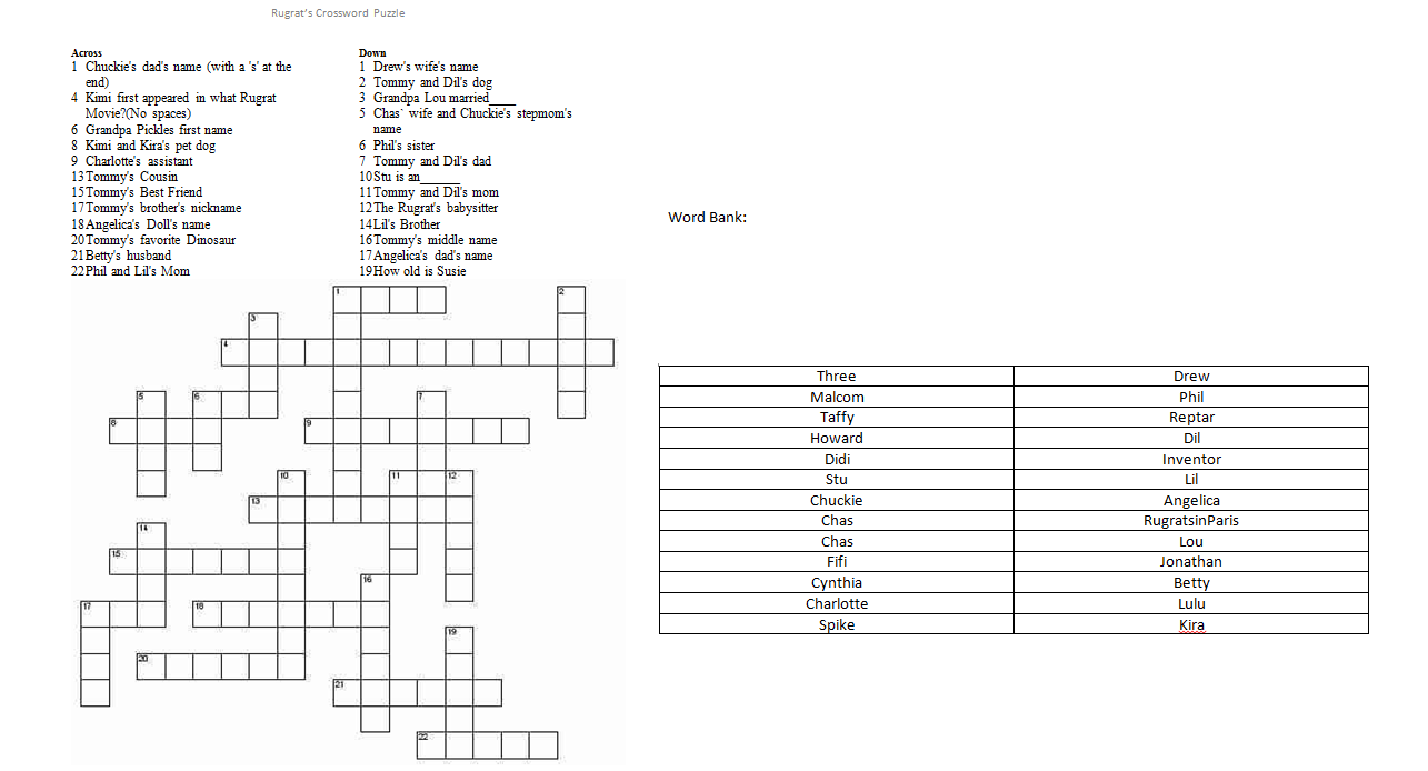 Printable Rugrats Crossword Puzzle
