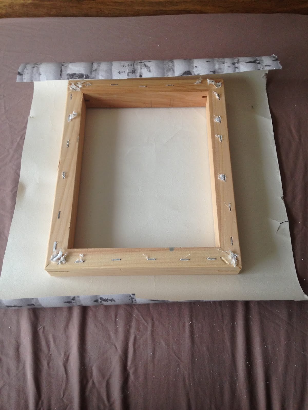 Jess bodhi diy photo frames bedroom facelift once in place you will need a stapler to hold the wallpaper in place into the wooden frame dont go mad with staples tho as its only paper and will hold jeuxipadfo Choice Image