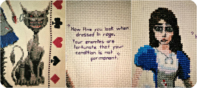 "Close-ups of an A4 cross-stitch of the game ""Alice: Madness Returns"" showing the Cheshire cat, the text, and Alice's face."