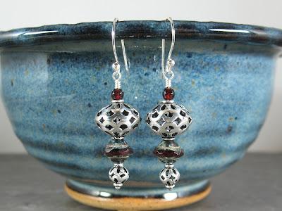 Bali sterling silver & Czech glass earrings