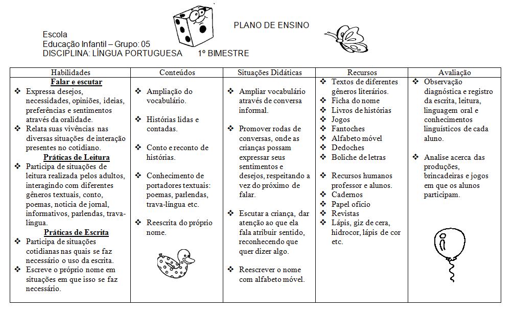 Amado AMIGA DA EDUCAÇÃO.: PLANO DE ENSINO EDUCAÇÃO INFANTIL / LÍNGUA  VP56