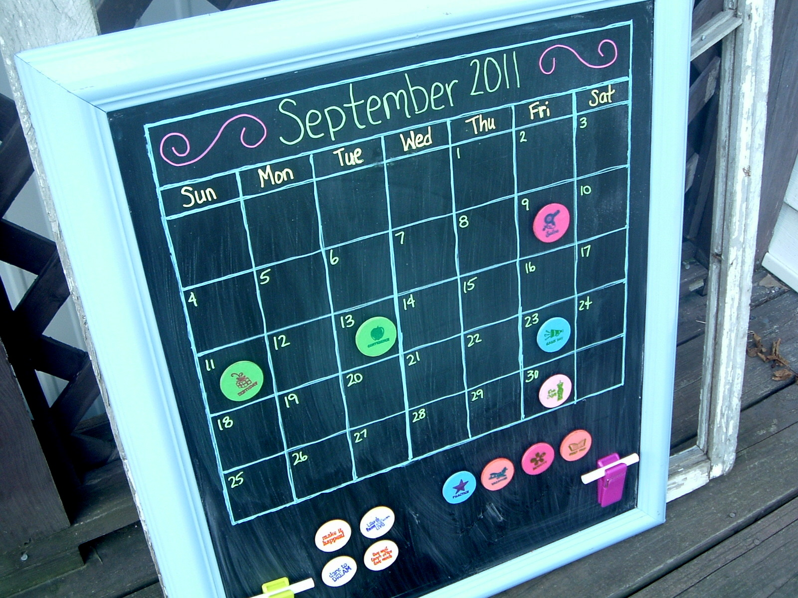 My magnetic chalkboard calendar! The perfect organization tool for the ...
