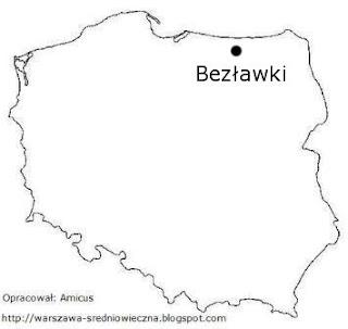 Mapa Polski z lokalizacją miejscowości Bezławki