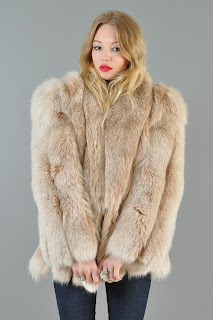 Vintage 1980's blush colored fox fur chubby coat.