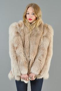 Vintage 1980's blush colored fox fur chubby coat.