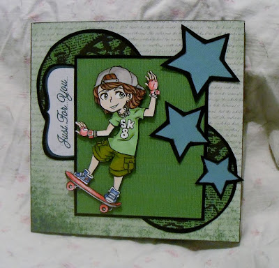 Visible image character stamp tennage boy skateboard