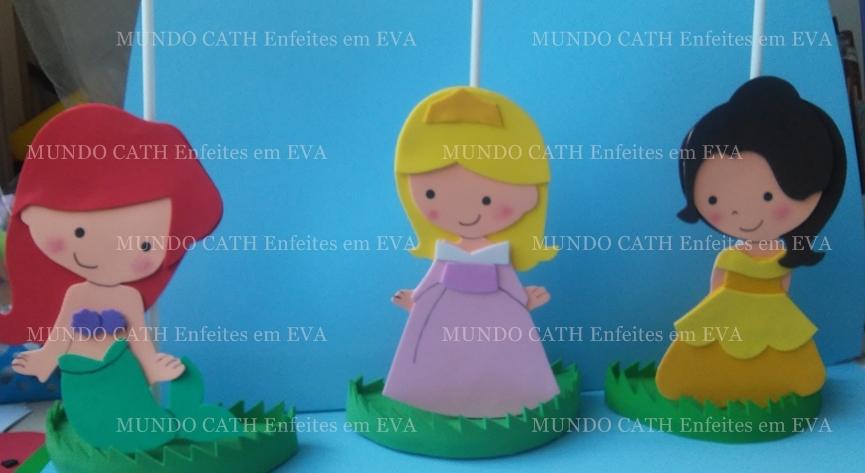 Suficiente Mundo Cath Enfeites em EVA: Centro de mesa Princesas cute EB48