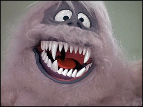 The Abominable Snowman showing his teeth in Rudolph the Red-Nosed Reindeer 1964 animatedfilmreviews.blogspot.com