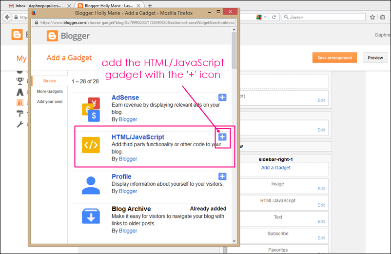 html gadget for blogger