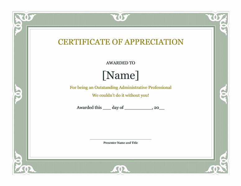 appreciation certificate wordings