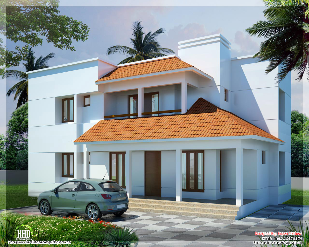 14 beautiful villa elevations kerala house design for Beautiful villa design