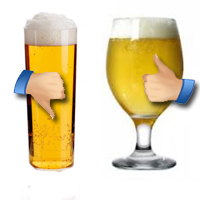 La cerveza perfecta huye del vaso de tubo