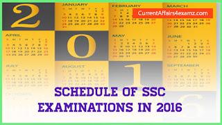 SSC Exam Calendar 2016