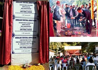 Foundation stone for renovation of Rock Garden and Gangamaya Park