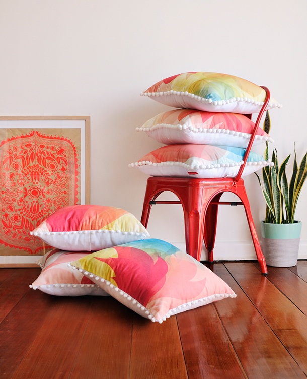 Summer Blossom Pom Pom Cushion range