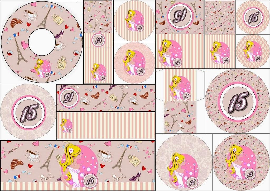 Quinceañera Rubia: Etiquetas de Candy Bar para Imprimir Gratis.
