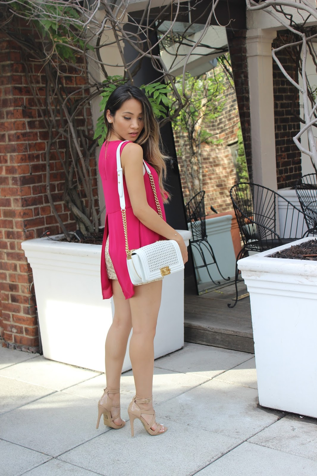 bcbg back slit shirt, melba nguyen, fashion blogger, forever21 shoes, hudson hotel, new york fashion week