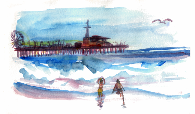 "Shiho Nakaza ""Los Angeles"" ""Santa Monica"" beach pier water ocean watercolor people"