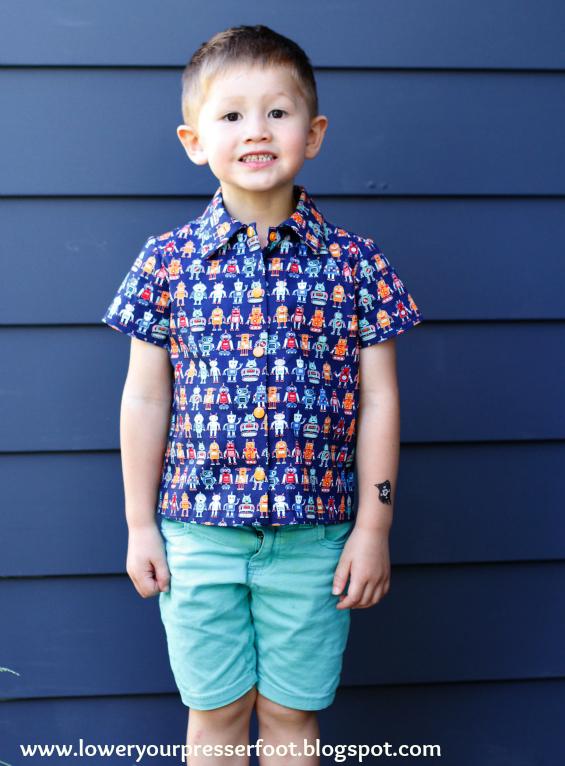 Simplicity 2907 boy shirt in robot print www.loweryourpresserfoot.blogspot.com