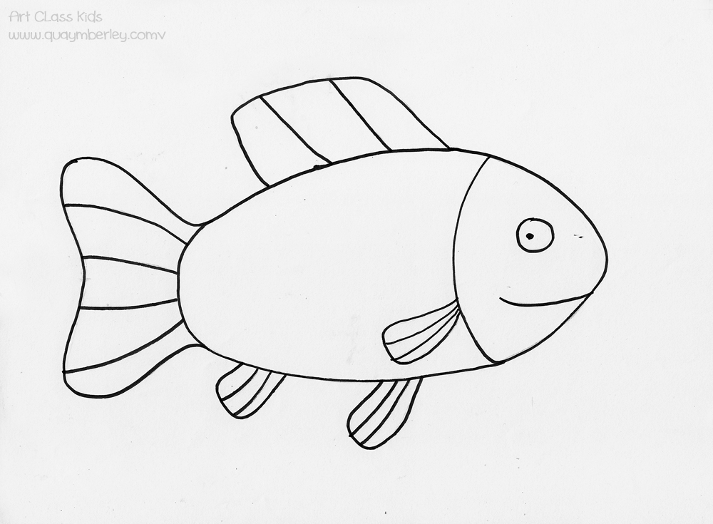 start with basic shapes the body is an oval the fins have stripes the eye is made up of a dot and a circle the face has a bend or slight point - Paint Drawing For Kids