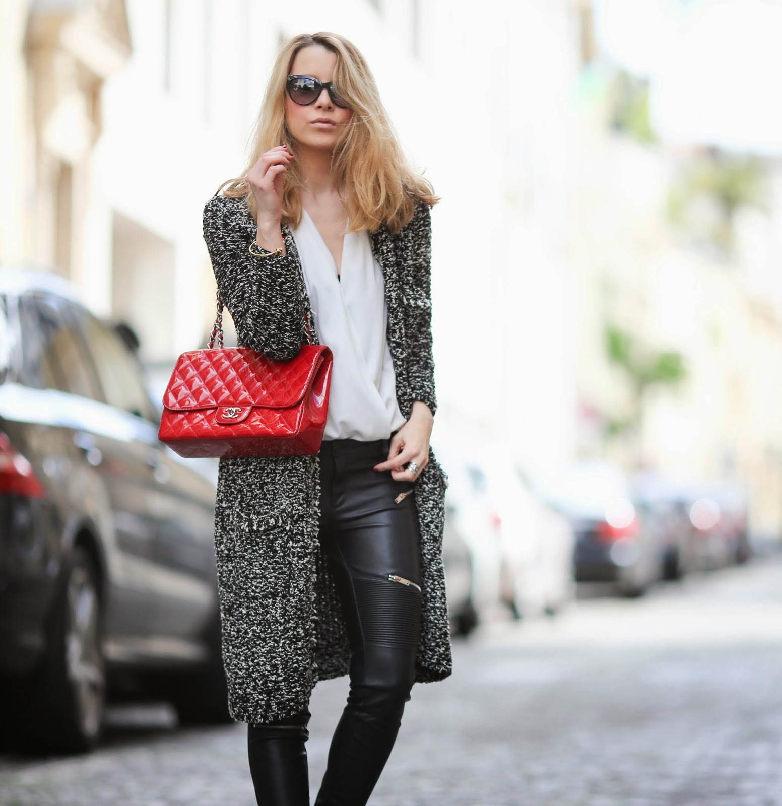 casual, streetstyle, chanel, zara, paris, leather pants, white sneakers