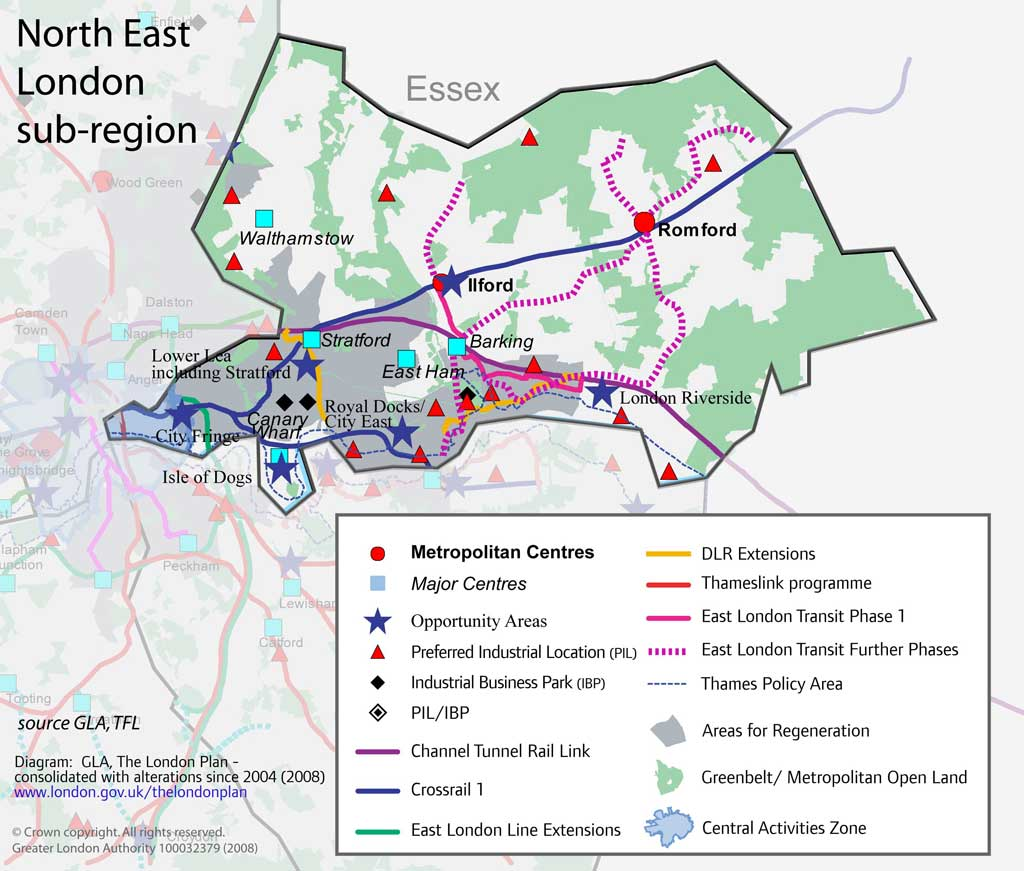 North East London Map Region Map Of London Political Regional - North east london bus map