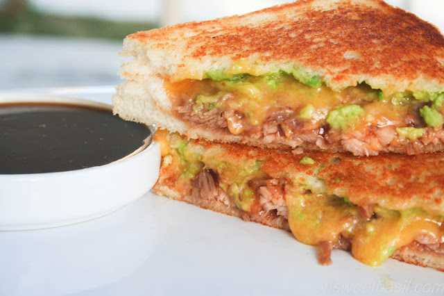 BBQ Porky Grilled Cheese with Fresh Guacamole