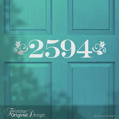 Floral Style Custom House Number Door Decal