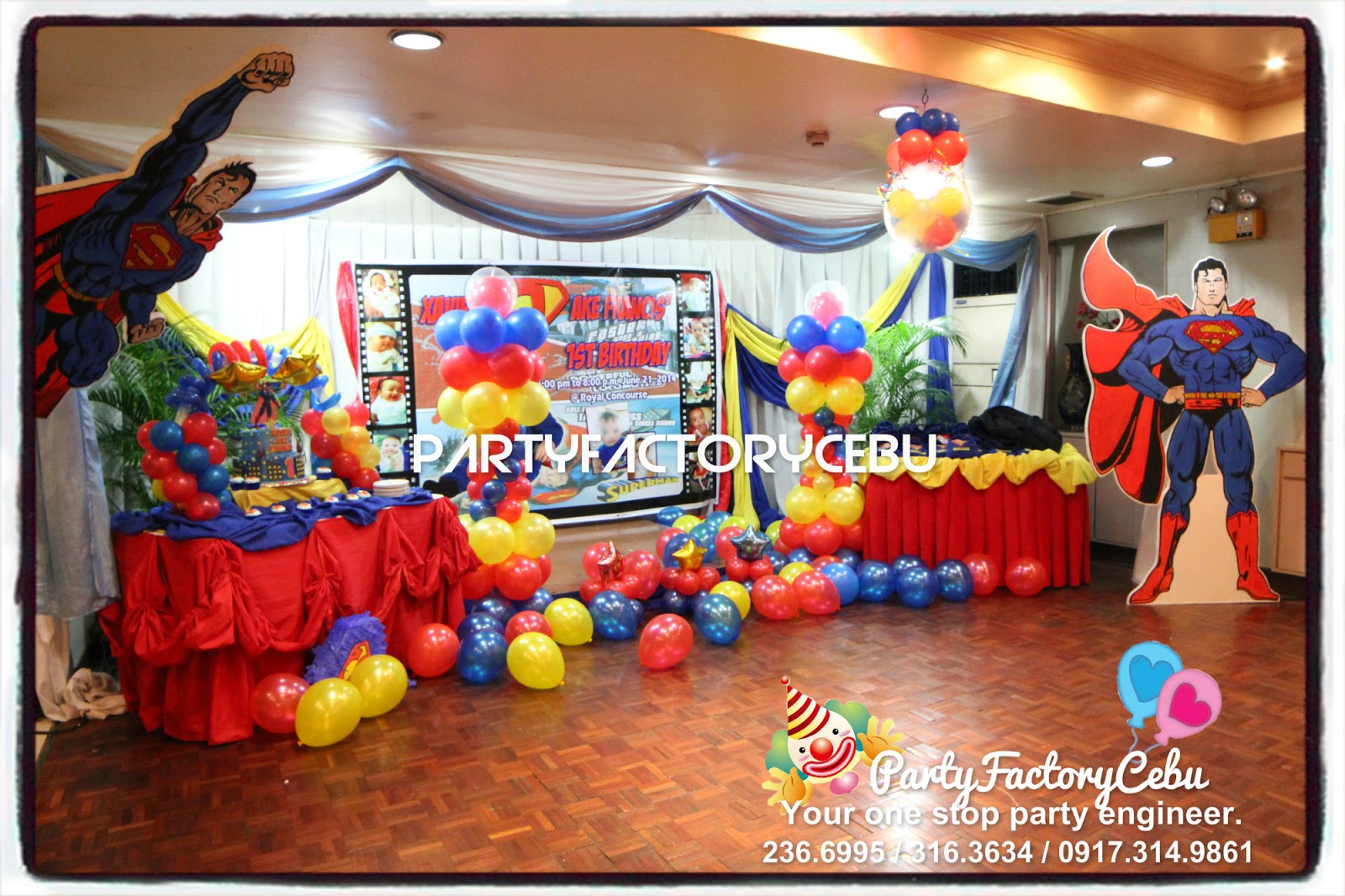 Welcome to partyfactory cebu jake francis 1st superman for 1st birthday decoration themes