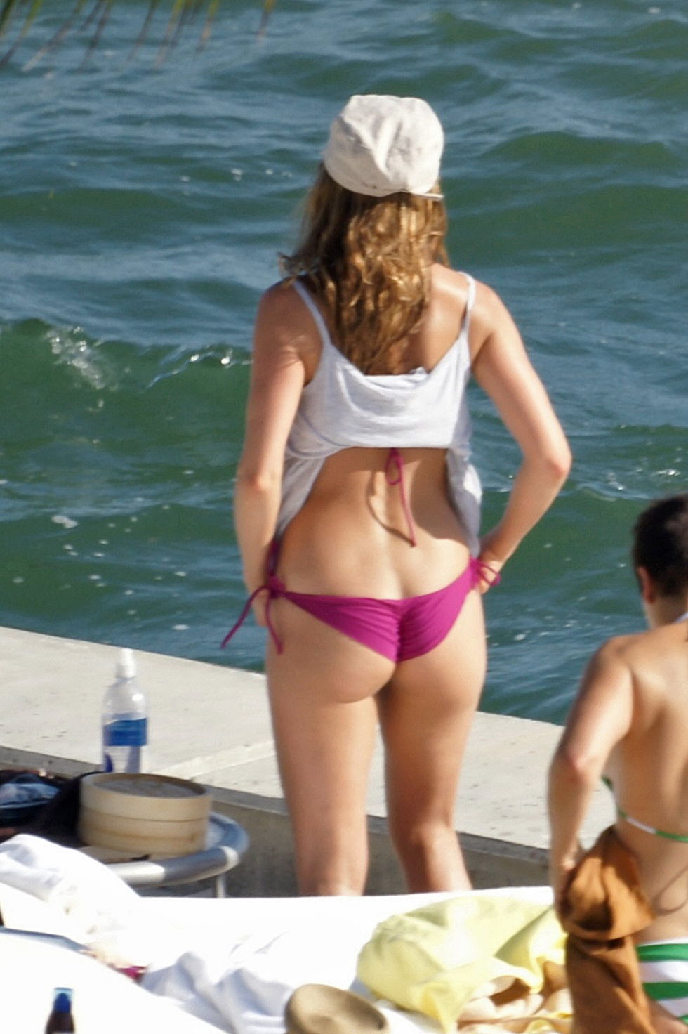 jennifer aniston pink thong bikini candids in miami hq