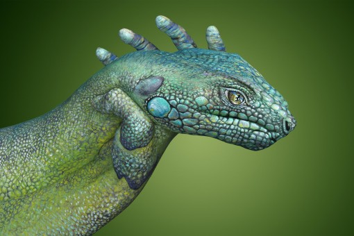 Iguana Hand Painting