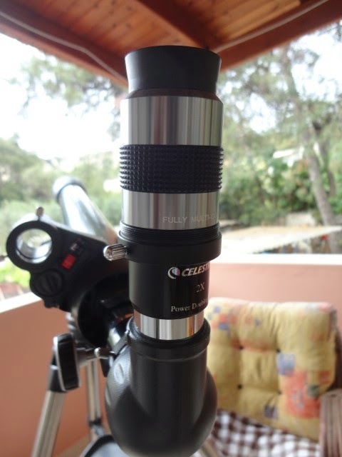 Celestron Astromaster with 2X magnifier and 30mm eyepiece.