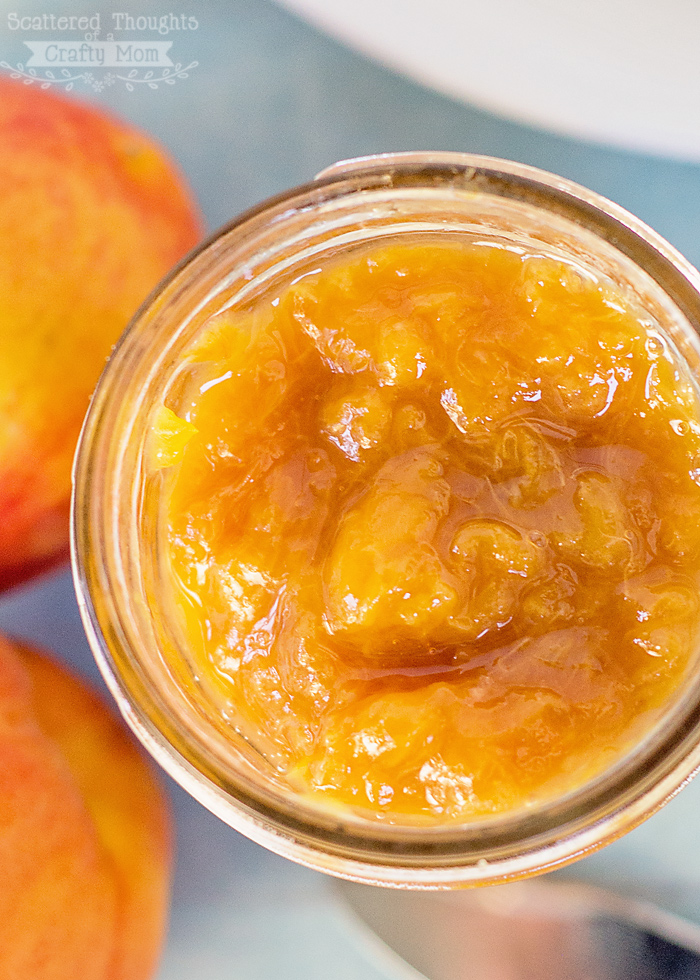 Easy homemade peach jam no pectin recipe scattered for Peach preserves no pectin