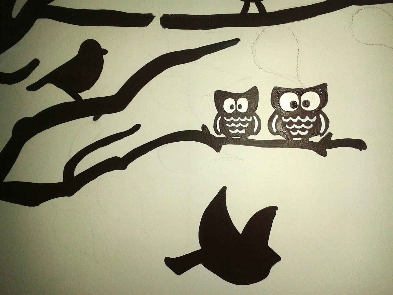 Diy mural rbol con hojas geno dise o arte - Como hacer dibujos en la pared ...
