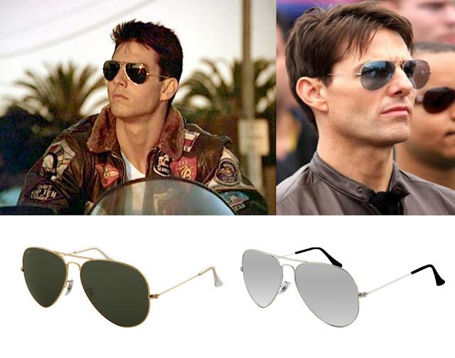 Tom Cruise con gafas de sol Aviator de Ray ban y modelos de Ray Ban aviator