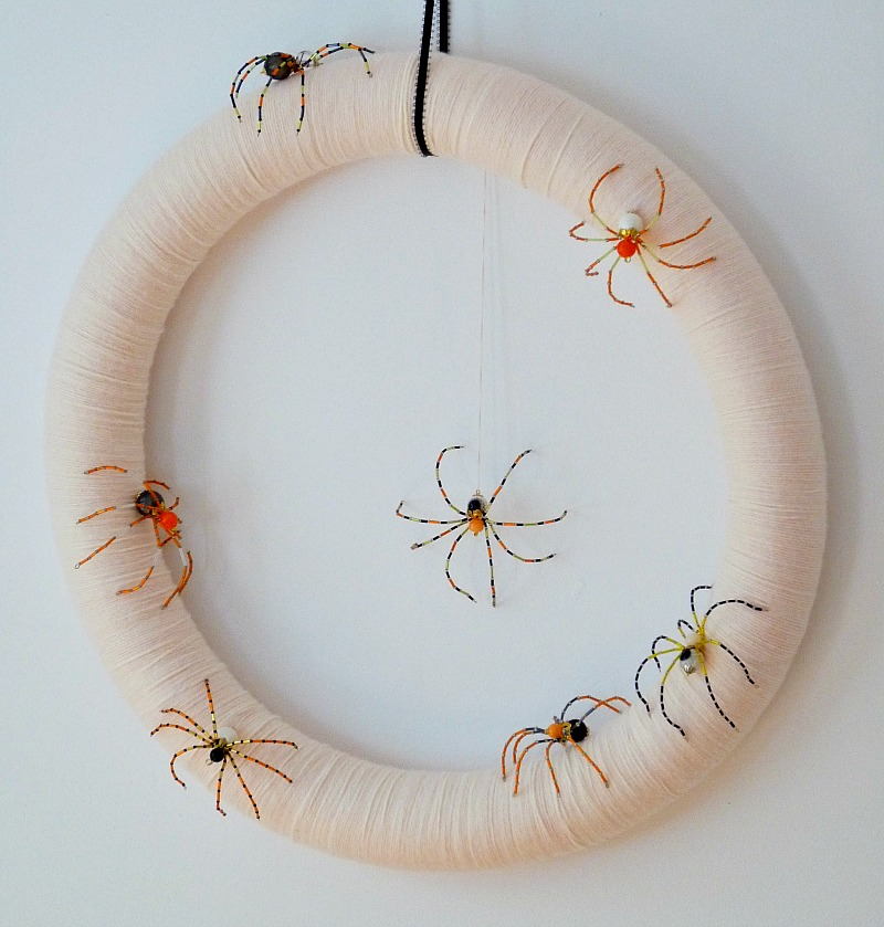 DIY Beaded Spider Wreath for Halloween