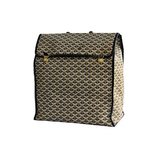 Vintage 1970's brown tonal diamond pattern Goyard travel bag with gold hardware.