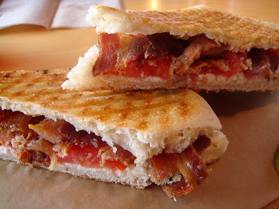 Bacon, goat cheese, and tomato sandwich (BGT) at Duckfat, Portland, Maine