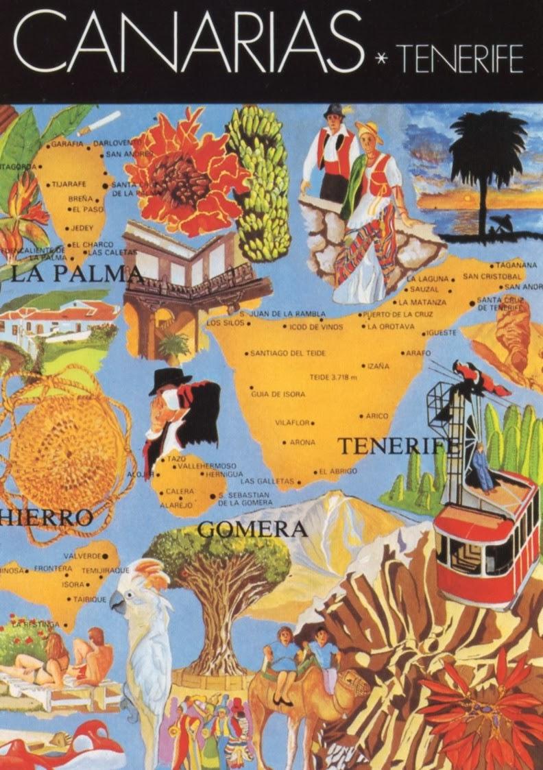 Postcards Around the World: Map of Tenerife, Islas Canarias - Spain