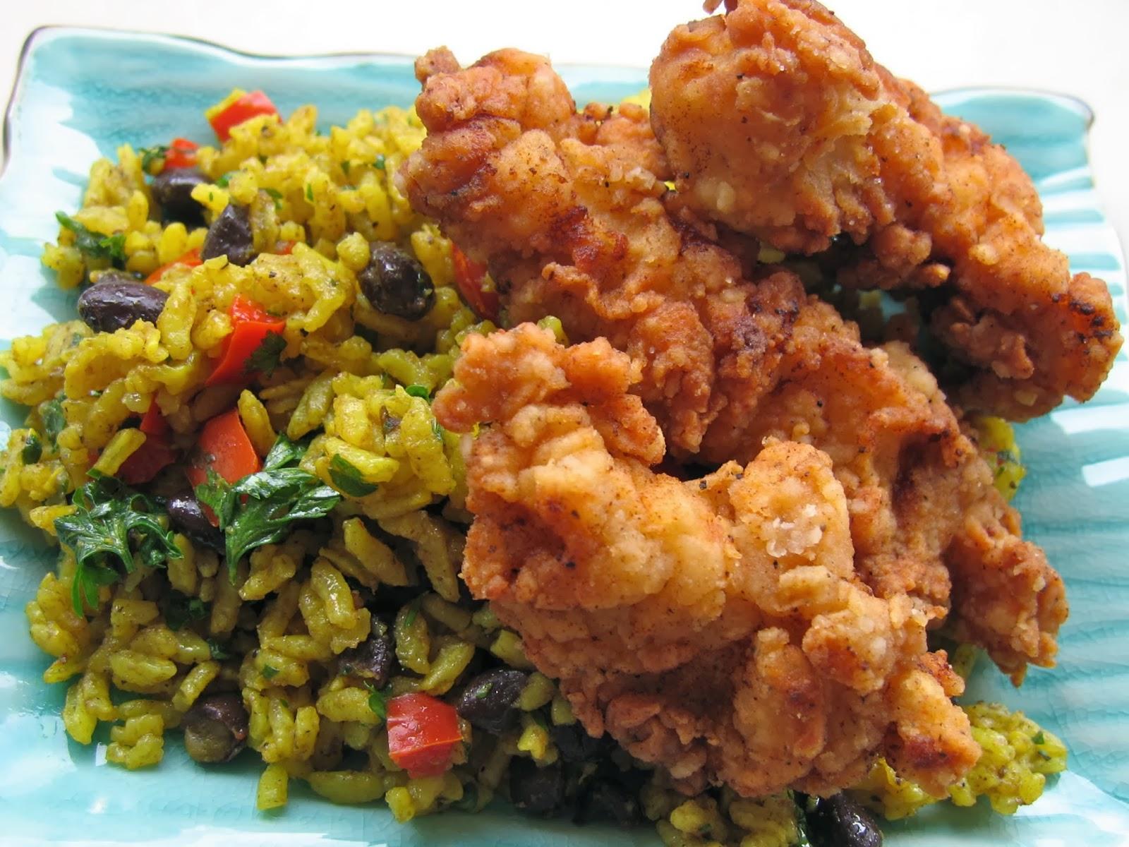 Yobodish Korean Recipes: Fried Chicken with Yellow Rice