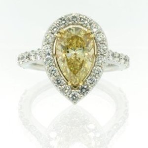 Yellow Pear Shape Diamond Engagement Anniversary Ring