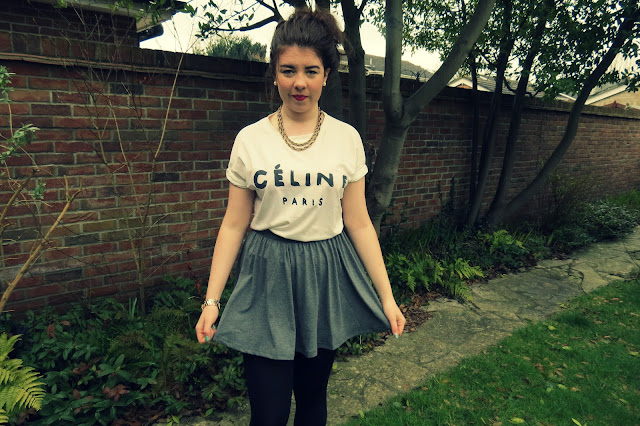 a photo of fake celine top from eBay and ASOS skater skirt outfit