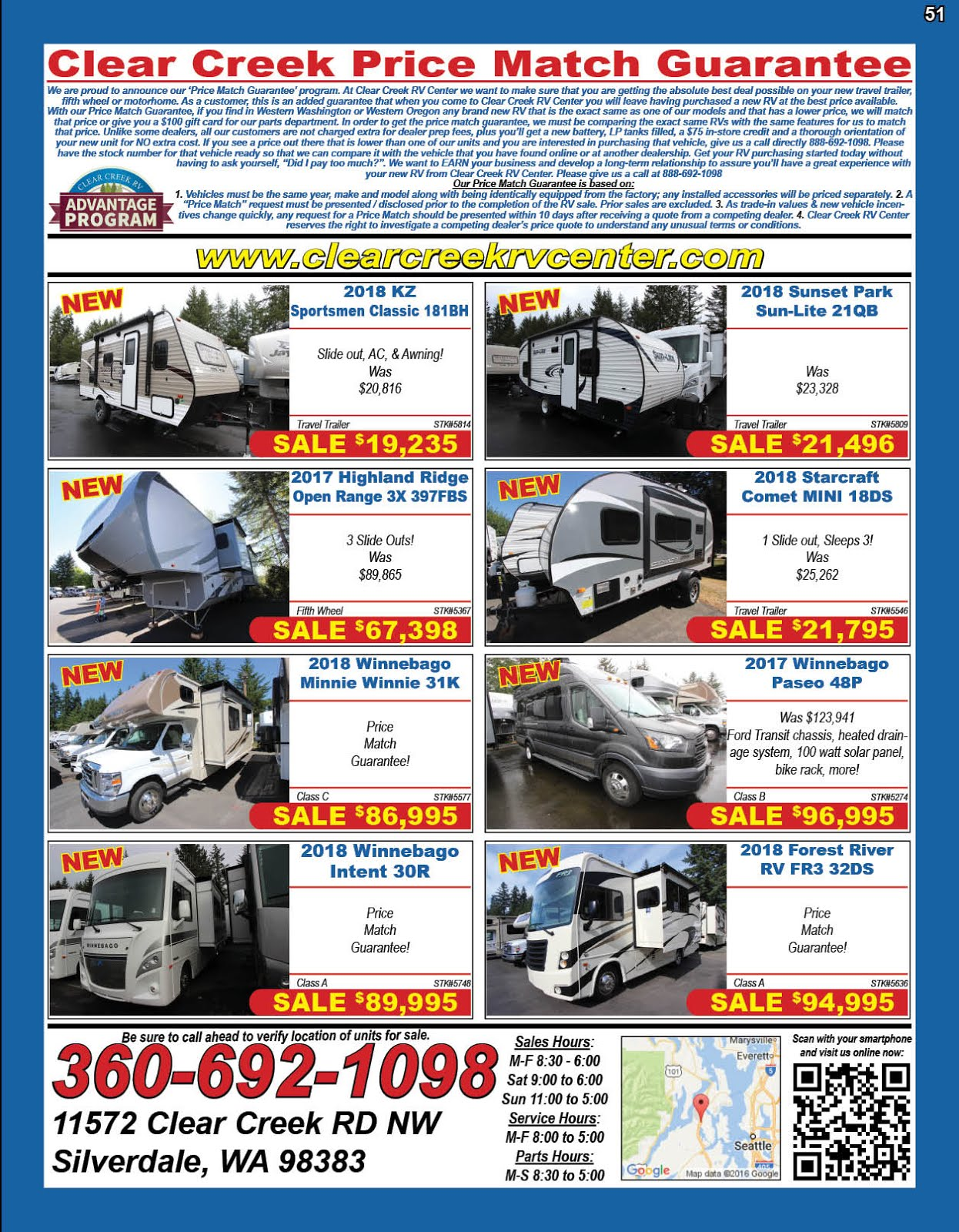 Clear Creek RV Center Clear Creek Advantage Program New Inventory!!