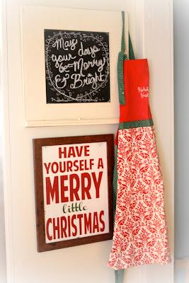 Christmas chalkboard and apron vis www.goldenboysandme.com
