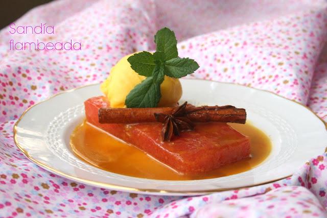 sandía, salsa de naranja, sorbete de mandarina