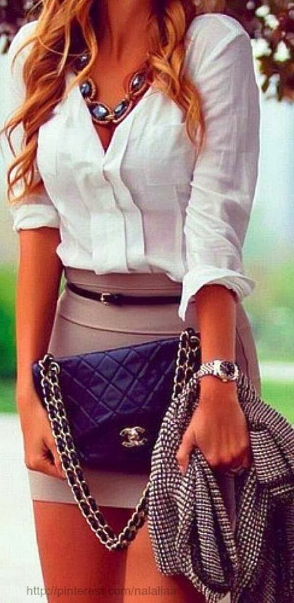 White shirt, necklace, skirt and c channel handbag