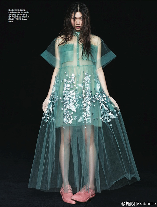 Delpozo RTW Spring 2015 Mint Print Embroidered Bobbinet Tulle Dress Editorials