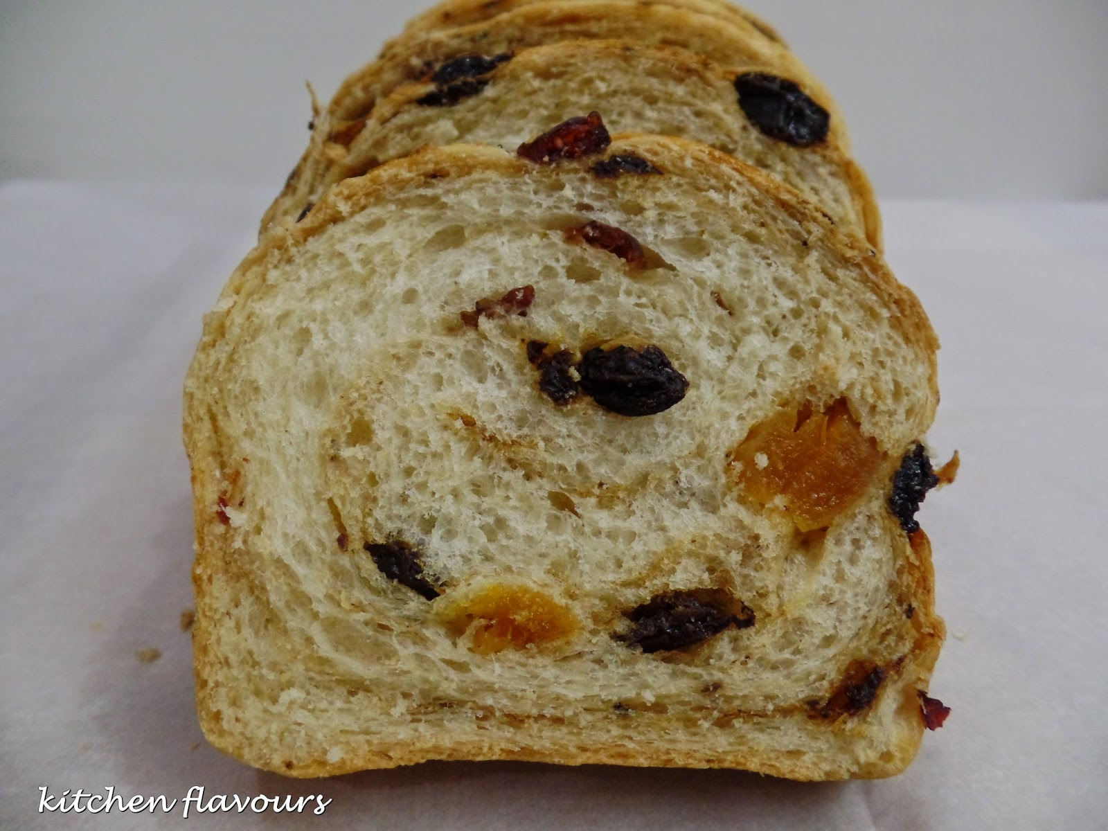 The top tends to get brown rather quick as this bread has honey so tent the top with foil if the top is browning too fast. & kitchen flavours: Honey and Dried Fruit Loaf