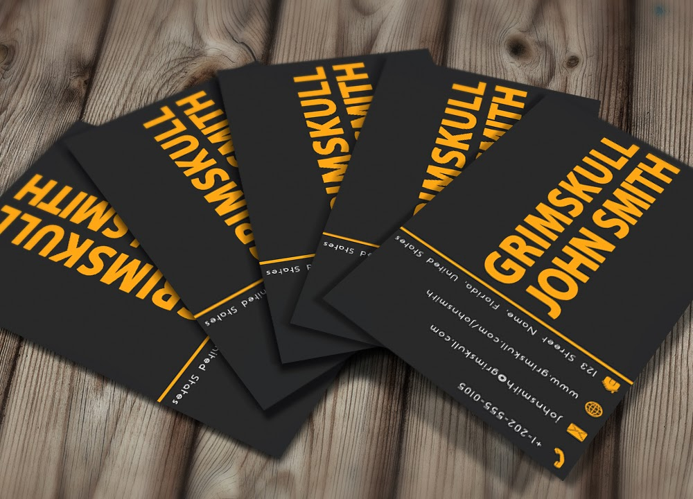 Black and orange business card template grimskull art black and orange business card template colourmoves